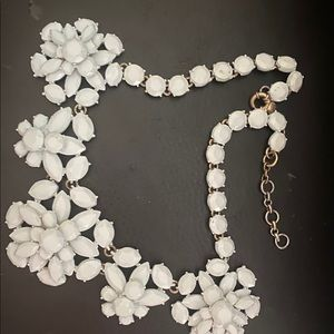 Classic JCrew Statement White Flower Necklace